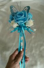 Aqua Blue & Ivory Wedding Butterfly Wand Flower Girl Bridesmaid Satin