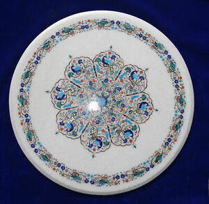 """18"""" Marble round table top floral semi precious stones inlay work decor"""