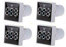 4x Panel Mount Ac Voltmeters With A 3 Digit White Digital Display Led 20 277vac