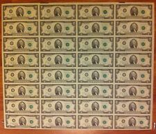 1976 - 32 UNCUT SHEET $ 2 DOLLAR -UNCIRCULATED-USA 2 DOLLAR UNCUT CRISP NOTES