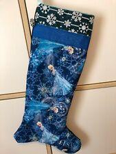 Large handmade Christmas Stocking Frozen Theme Elsa Blue Silver Snowflakes