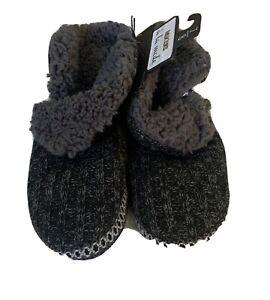 NWT Muk Luks Black/gray Sweater Slipper Boots M 7/8