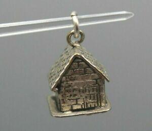 Ancien Pendentif Charm Breloque Maison en Métal Argenté