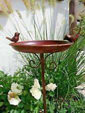 Dekorative Futterstelle Teller Vogeltränke Vogelbad  Gartenstecker braun shabby