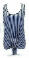 Gyft Womens Casual Sleeveless Top Blue and White Striped Size Large