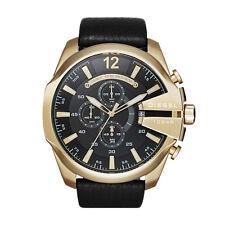 DIESEL Uhr DZ4344 MEGA CHIEF Herren Chronograph Leder Schwarz Armbanduhr Analog