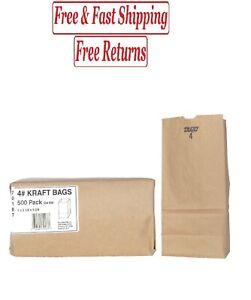 Duro Bag #4 Brown Kraft 500 ct. Paper Grocery Bags Sack Lunch Merchandise