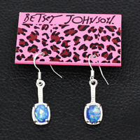 Betsey Johnson Women's Blue Faux Fire Opal Drop Earbob Dangle Earrings Gift