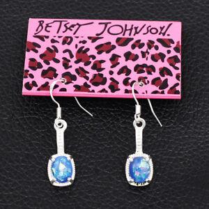 Betsey Johnson Women's Blue Faux Fire Opal Drop Earbob Dangle Earrings Gift