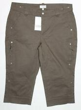 heine Designer Khaki Zip Pocket Detail Denim Capri Pants Size 44 / XL BNWT #sW89
