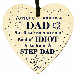 Funny Rude Fathers Day Gifts for Step Dad Wooden Heart Plaque Birthday Keepsake