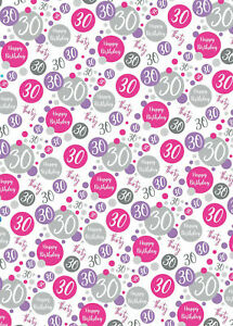 2 Sheets 30th Birthday Wrapping Paper Age 30 Gift Wrap Female Pink & White (PA)