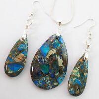 Beautiful Blue Sea Sediment Jasper Pyrite Teardrop Earrings & Necklace Set D2035