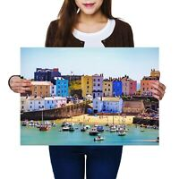 A2 - Tenby Harbour Wales UK Travel Boats Poster 59.4X42cm280gsm #24293