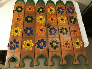RARE VINTAGE 1970's RETRO COLORFUL FLOWER WOOD SHUTTERS PARTITIONS GROOVY GLASS