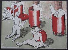 Thomas Bernstein Im Hof Farblithographie 1991 handsigniert u. datiert