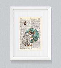 Taurus Zodiac Astrology Starsign Vintage Dictionary Book Print Art