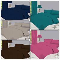Plain Duvet Cover with Pillow Case Quilt Cover Bed Set Single Double  King Sizes