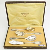 Antique French Sterling Silver Dessert Serving Server Set 4pc w/Box Flatware 20C