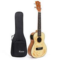 "Kmise Solid Spruce 23"" Electric Acoustic Concert Ukulele Hawaii Guitar With Bag"