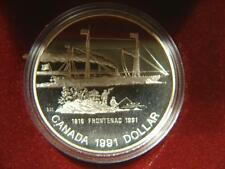 1991 Canada Dollar SS Frontenac Silver Proof Coin in Case