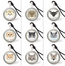 Portraits of cat Necklace Pendants Pewter Silver Jewelry Jewelry Jnp