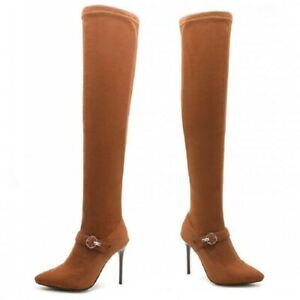 Ladies Pointy Toe High Slim Heels Stiletto Stretch Over Knee High Boots Party US