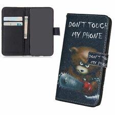 Schutz Hülle für Sony Xperia M5 Bär Dont Touch Tasche Case Cover Leder-Imitat