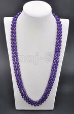 Fashion Women's Natural 8MM Purple Jade Round Gemstone Beads Necklace 36'' Long