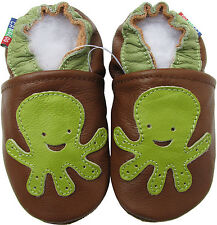carozoo soft sole leather toddler shoes octopus brown C2 2-3t