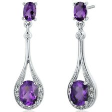 3.5 carat Oval Purple Amethyst Sterling Silver Dangling Earrings
