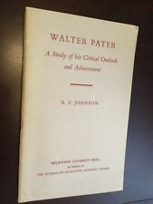 Walter Pater, R.V. Johnson 1961, aesthetic, literary theory, art criticism
