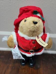 """Vintage 1981 Paddington Bear Santa Claus 16"""" Plush Stuffed Toy w/ Tags Eden Toys"""