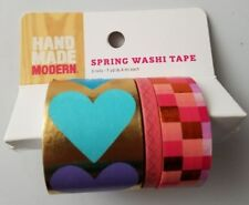 Hand Made Modern Spring Washi Tape 3 Rolls Hearts 7 yards Each