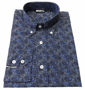 Relco Navy Paisley Men's Classic Mod Vintage Design Shirt`s