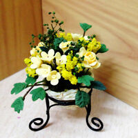 JT_ 1:12 Scale Dollhouse Mini Flower Pot Stand Handcrafted Garden Decor Toy Gr