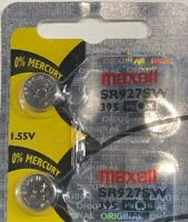 2- Maxell 395 SR927SW Silver Oxide Exp. 2022 USA Free Ship. Authorized Seller.