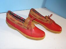LADIES EDDIE BAUER HEAVY DUTY ANKLE HIGH LACE UP RAIN SNOW BOOTS RED SIZE 9
