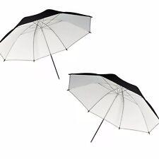 "2x 33"" Photo Studio Black White Reflector Umbrella Video Flash Light Reflective"