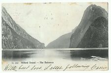 Milford Sound, the entrance, postmarked from Wellington NZ to London, 1906