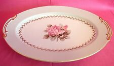 Noritake Rosemont Oval Serving Platter 5048 Japan Pink Rose White Gray China