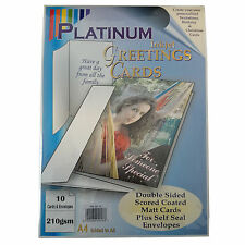 PLATINUM INKJET GREETINGS CARD SET WITH 10 DOUBLE SIDED CARDS & ENVELOPES 210GSM