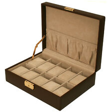 Watch Box Storage Case Leather For 10 Watches With Lined Pocket TS410BRN