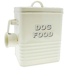 Home Sweet Home Cream Dog Pets Food Dispenser Storage Container Canister New