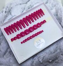 Flamingo Hot Pink Finger And Toes False Fake Matching Nails Set