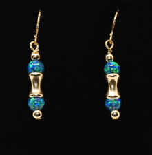 14K Yellow Gold & KYOTO™ 4mm Blue/Green Fire Opal Earrings Decorative Earwires!