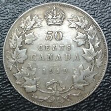 OLD CANADIAN COIN - 1919 - 50 CENTS HALF DOLLAR - .925 SILVER - WWI era - Nice