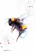 Bee, Print of Original Watercolour Painting  by Be Coventry wildlife art