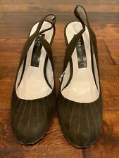 Marc Jacobs Army Green Suede Slingback Heels, Size 7 (US) 37 (EUR)