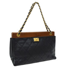 CHANEL Quilted Chain Hand Bag 8081029 Black Caviar Skin Leather AK34166b